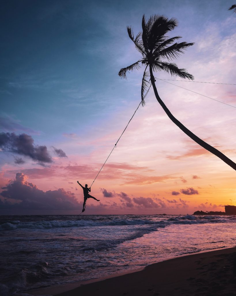 Swing from a coconut tree, Unawatuna, Sri Lanka